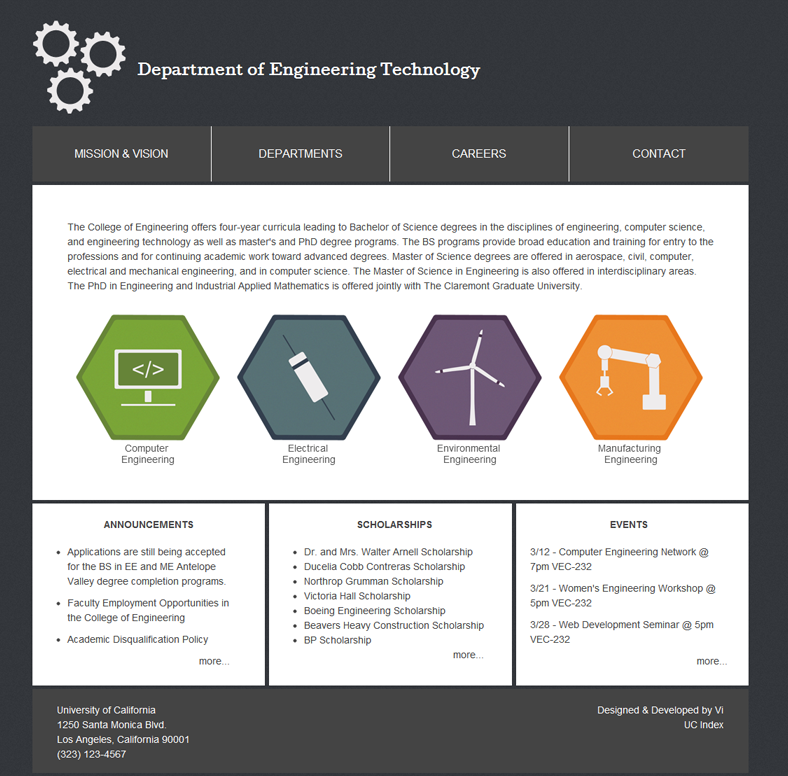 Department of Engineering Technology Design Layout