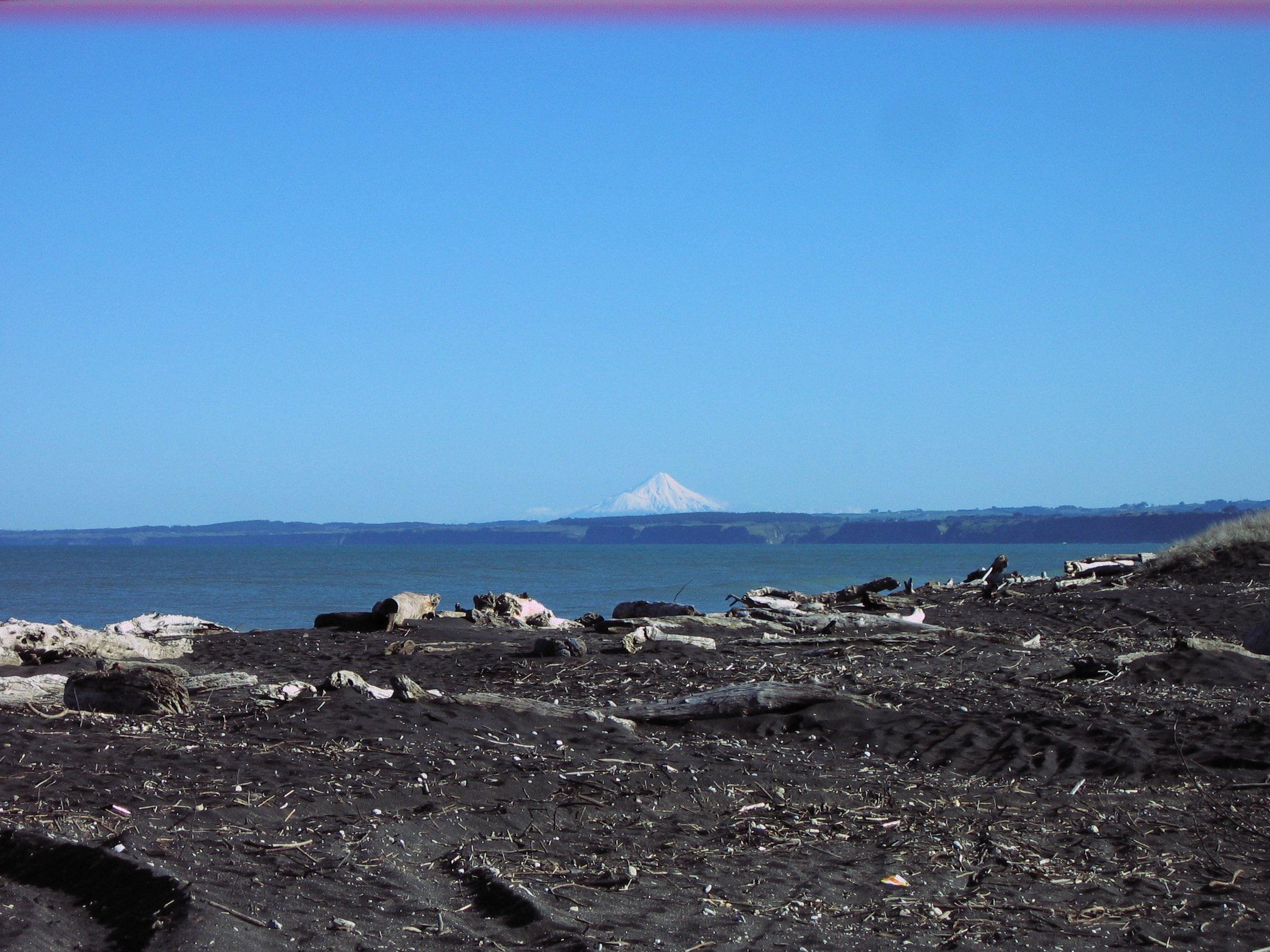 Castlecliff beach with view of Mt Taranaki in distance