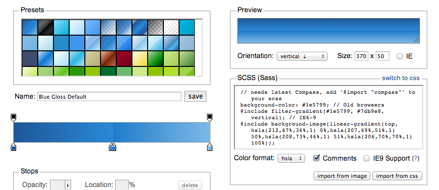 ColorZilla CSS Gradient Generator with SCSS and Compass