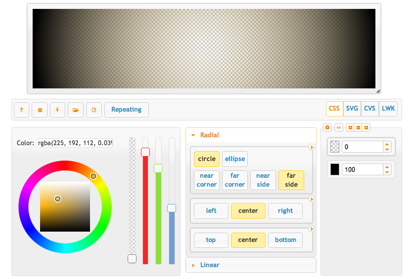 Visual CSS Tool Gradient Generator