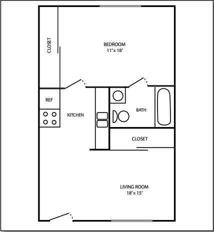 Rosamond 1 Bedroom Floorplan