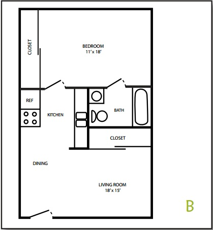 East Market 1 Bedroom Floorplan