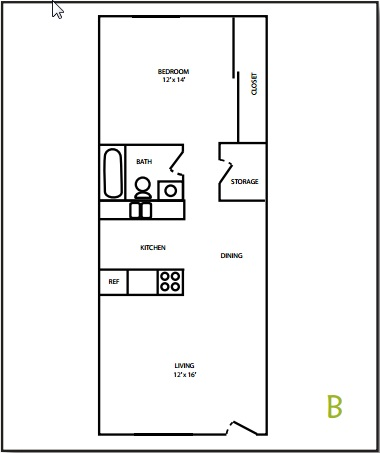 Tudor Apartment 1 Bedroom Floorplan