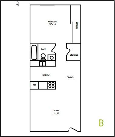 Tudor Apartment 1 Bedroom Floorplan