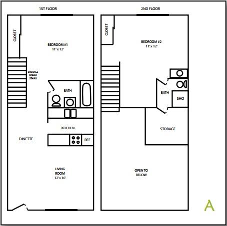 Tudor Apartment 2 Bedroom Floorplan
