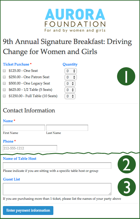 Event registration with LGL Forms