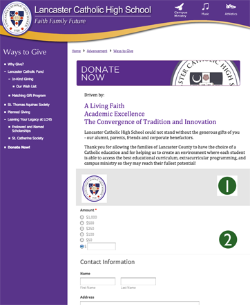 Donation form using LGL Forms