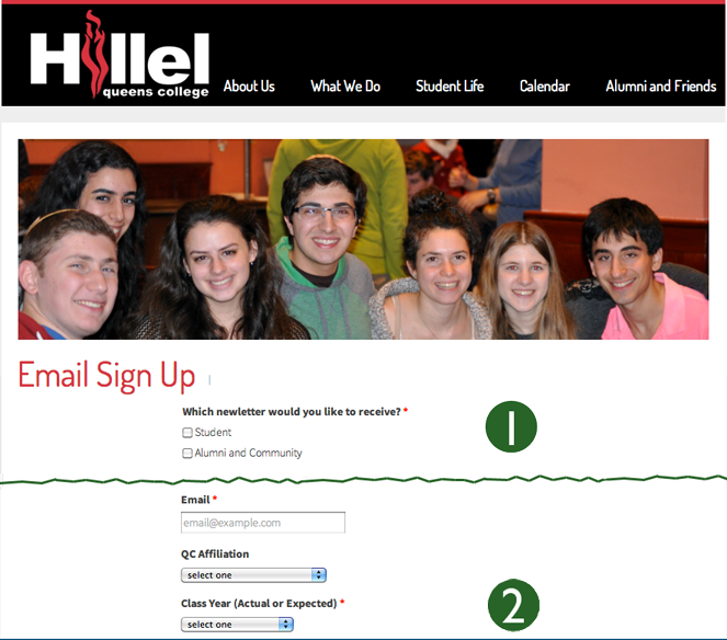 Mailing list sign-up using LGL Forms