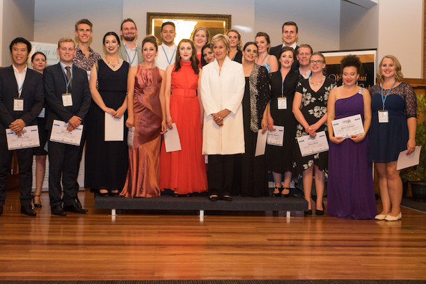 Students at the 2016 Wanganui Opera Week get their certificates from Dame Kiri te Kanawa