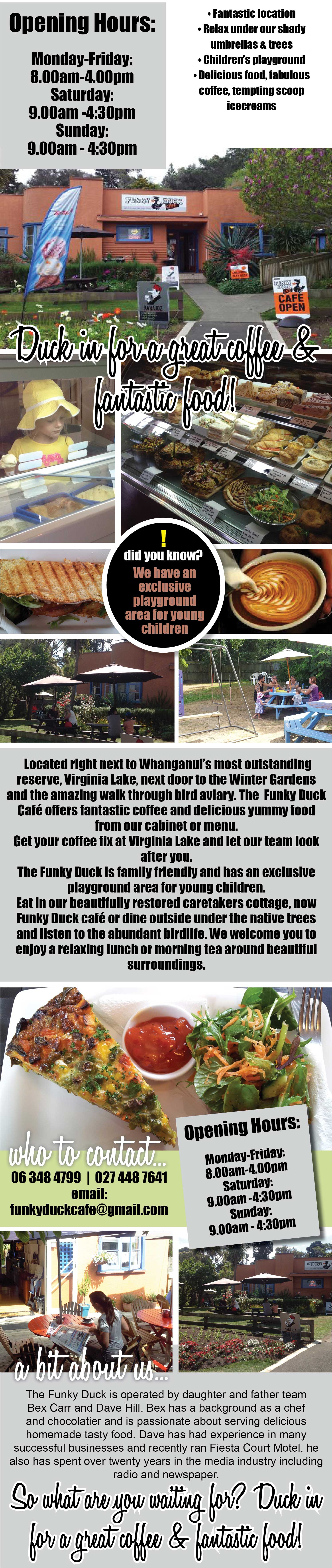 Funky Duck Cafe, Wanganui, fabulous food, fantastic location, delicious coffee, scoop ice cream, exclusive children's playground, Virginia Lake Wanganui, dine under shady umbrellas and trees