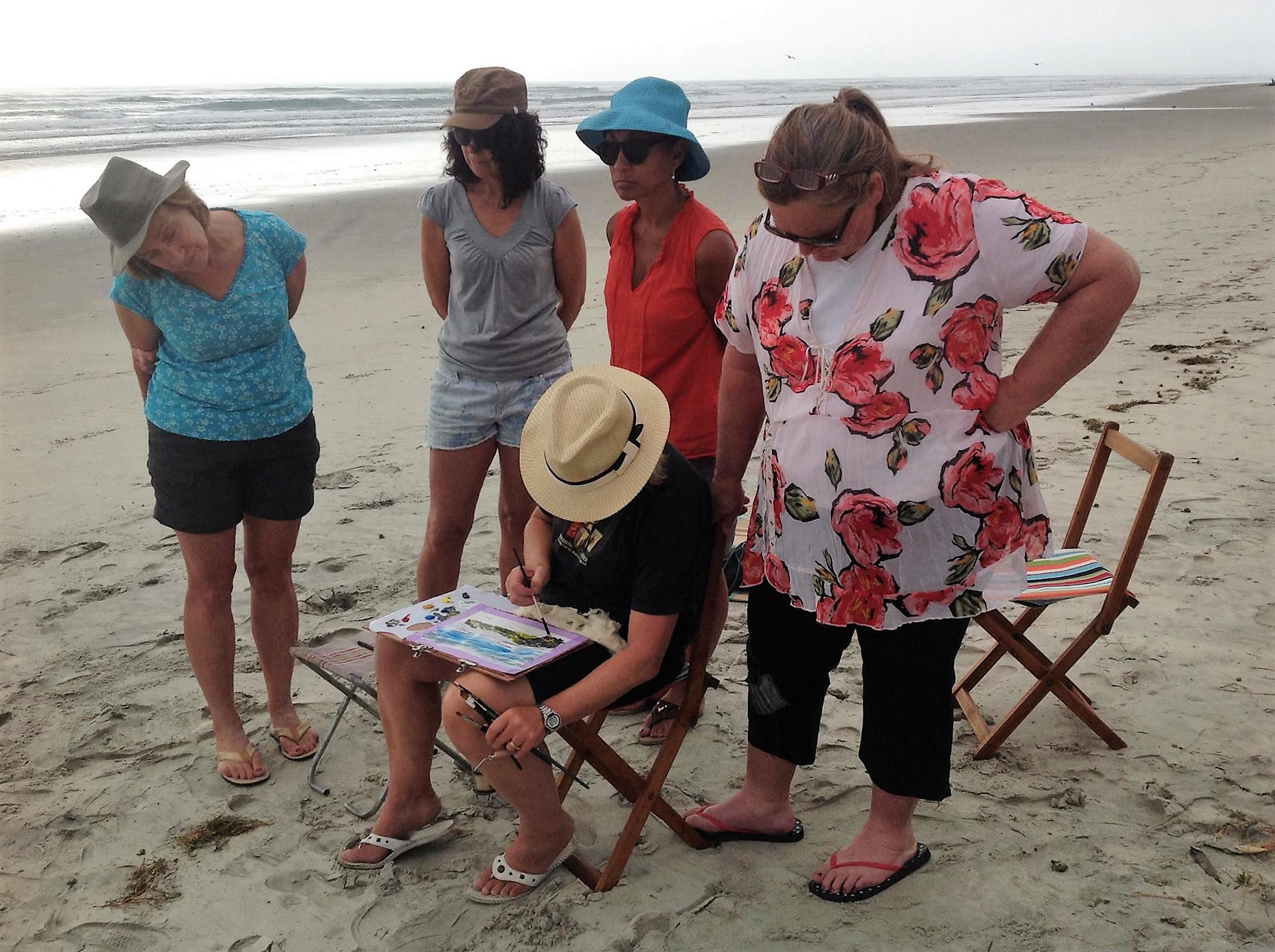 painting demo at the beach