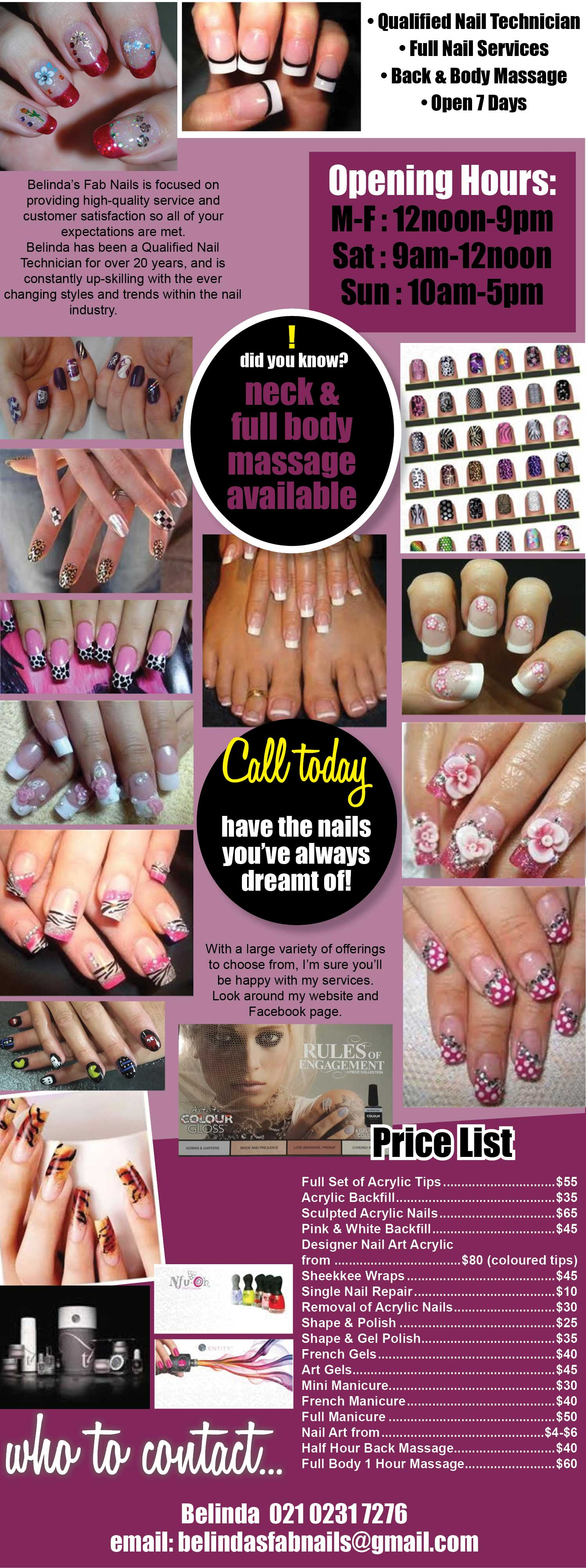 Belinda's Fab Nails is focused on providing high-quality service and customer satisfaction so all of your expectations are met. Qualified Nail Technician, Nail Services, Back & Body Massage, Wanganui.