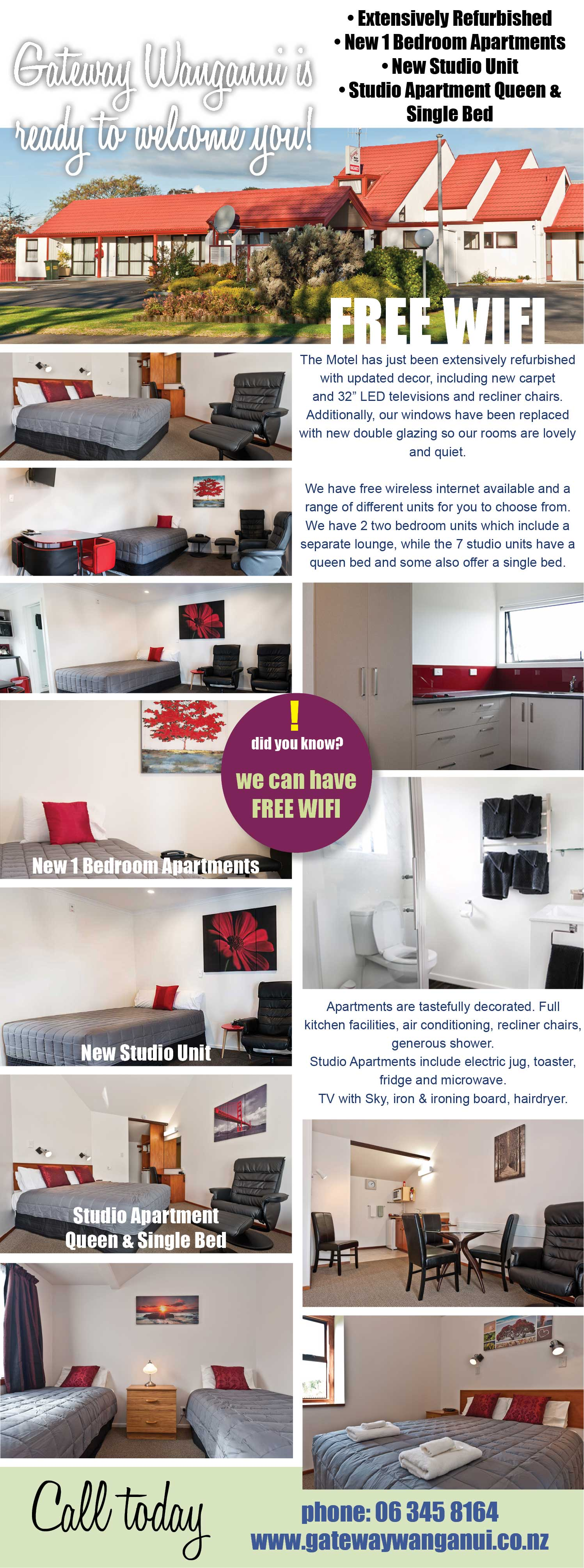 Gateway Motorlodge Wanganui, Extensively refurbished, Apartments, Studio Units, Free Wifi, Queen and Single beds, Sky TV