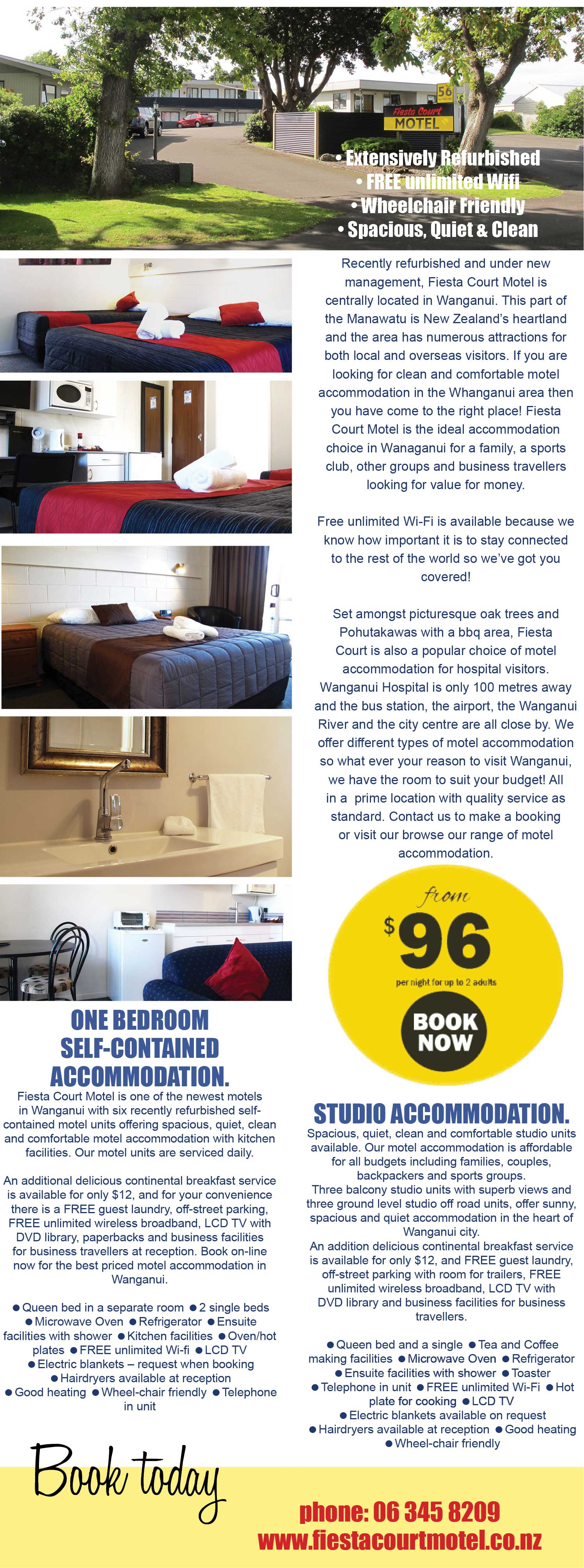 Fiesta Court Motel Wanganui, Self contained accommodation, studio accommodation, wheelchair friendly accommodation Wanganui, free wifi