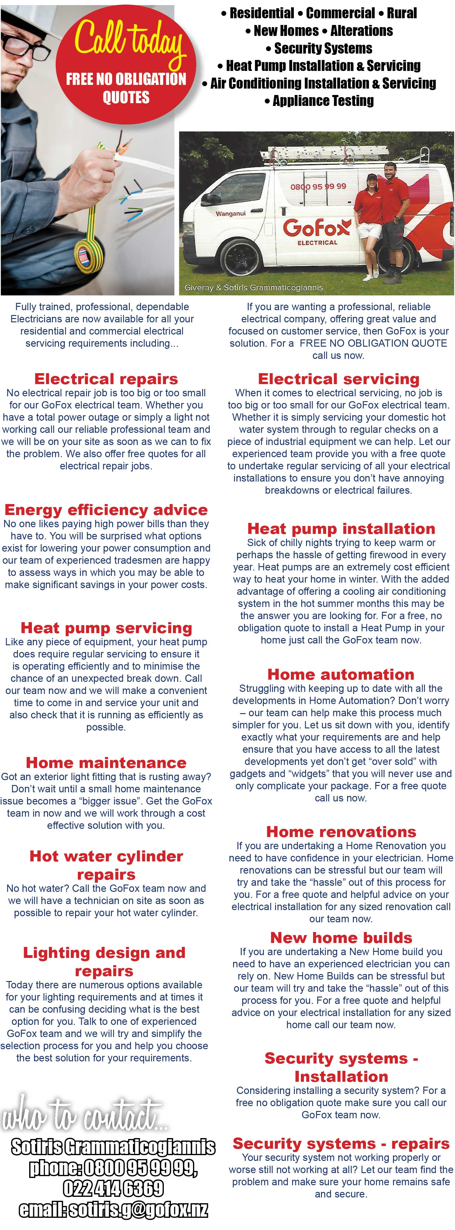GoFox Electricians Wanganui, Residential, commercial, rural, new homes, alterations, security systems, heat pump installations & servicing, air conditioning installation & servicing.