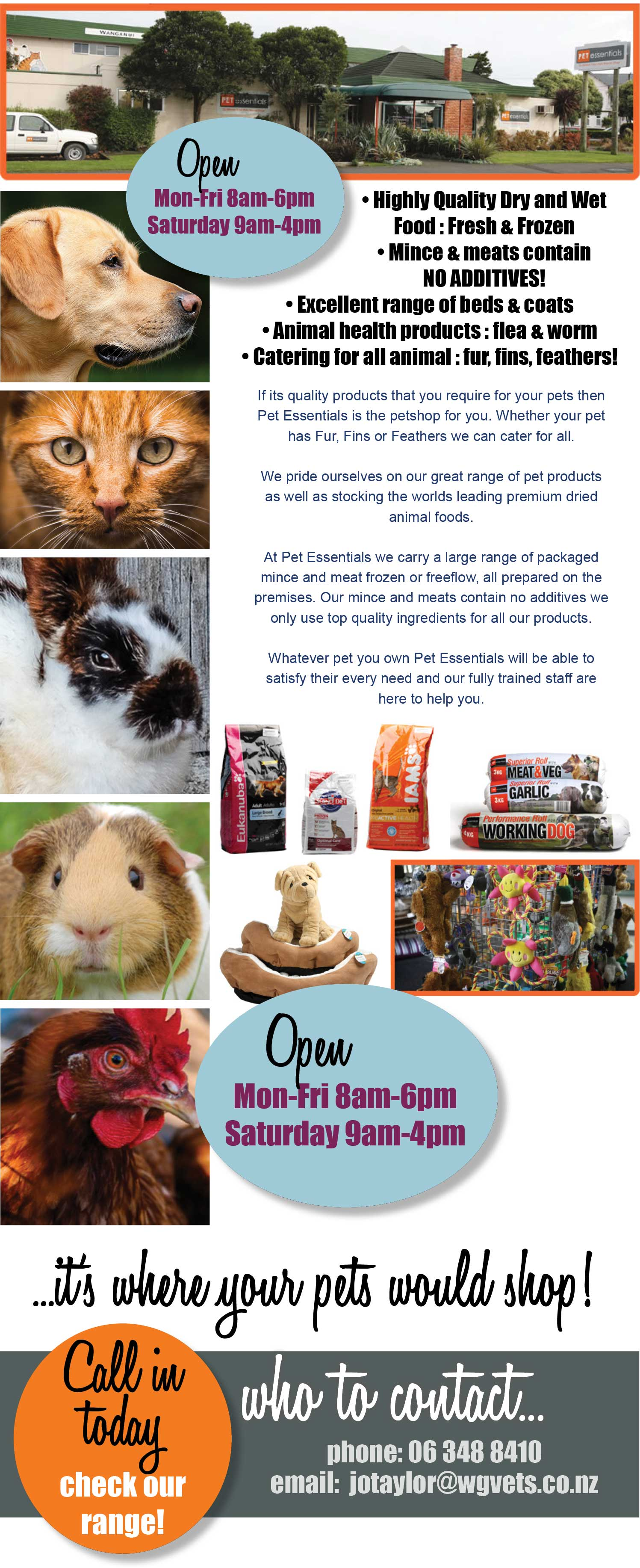 Pet Essentials Wanganui. High quality pet food, beds & coats, animal health products, all animals catered for. Wanganui Pet Essentials, Somme Parade, Wanganui. Pet supplies, pet food.