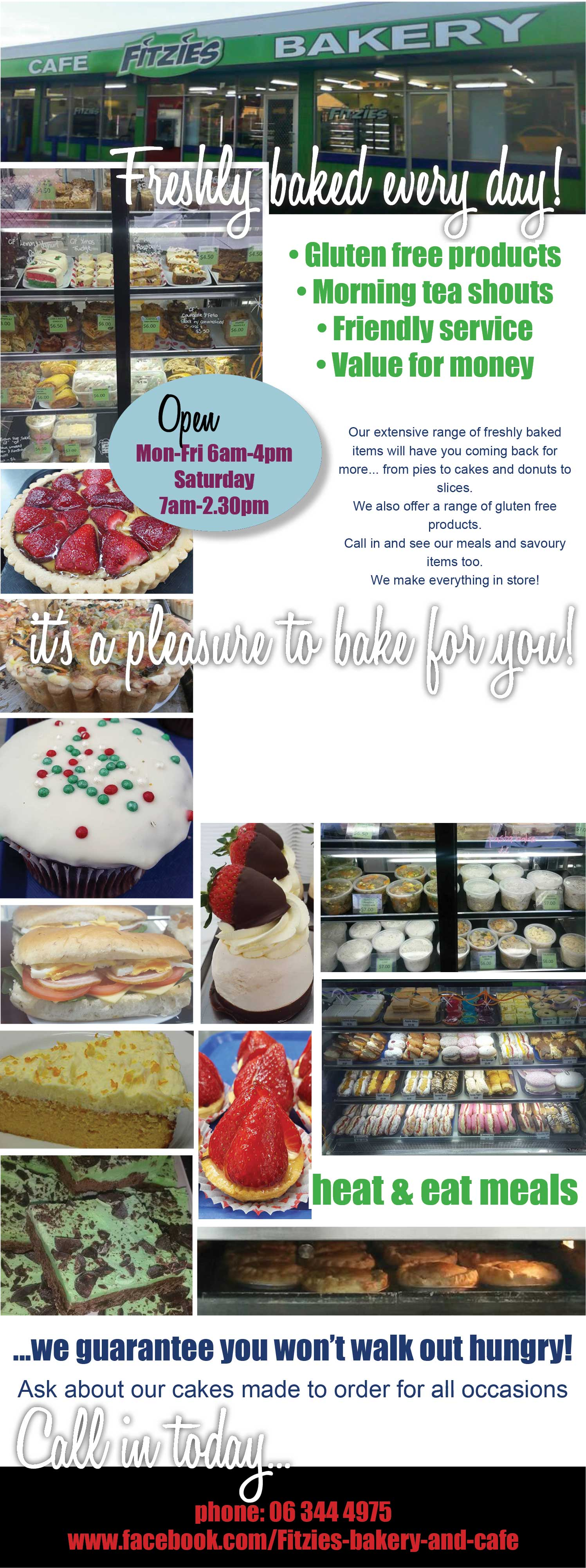 Fitzies Cafe & Bakery, Wanganui. Gluten free products, morning tea shouts, pies, sandwiches, ready made meals, cakes, slices, freshly baked everyday, dine in or takeaway.