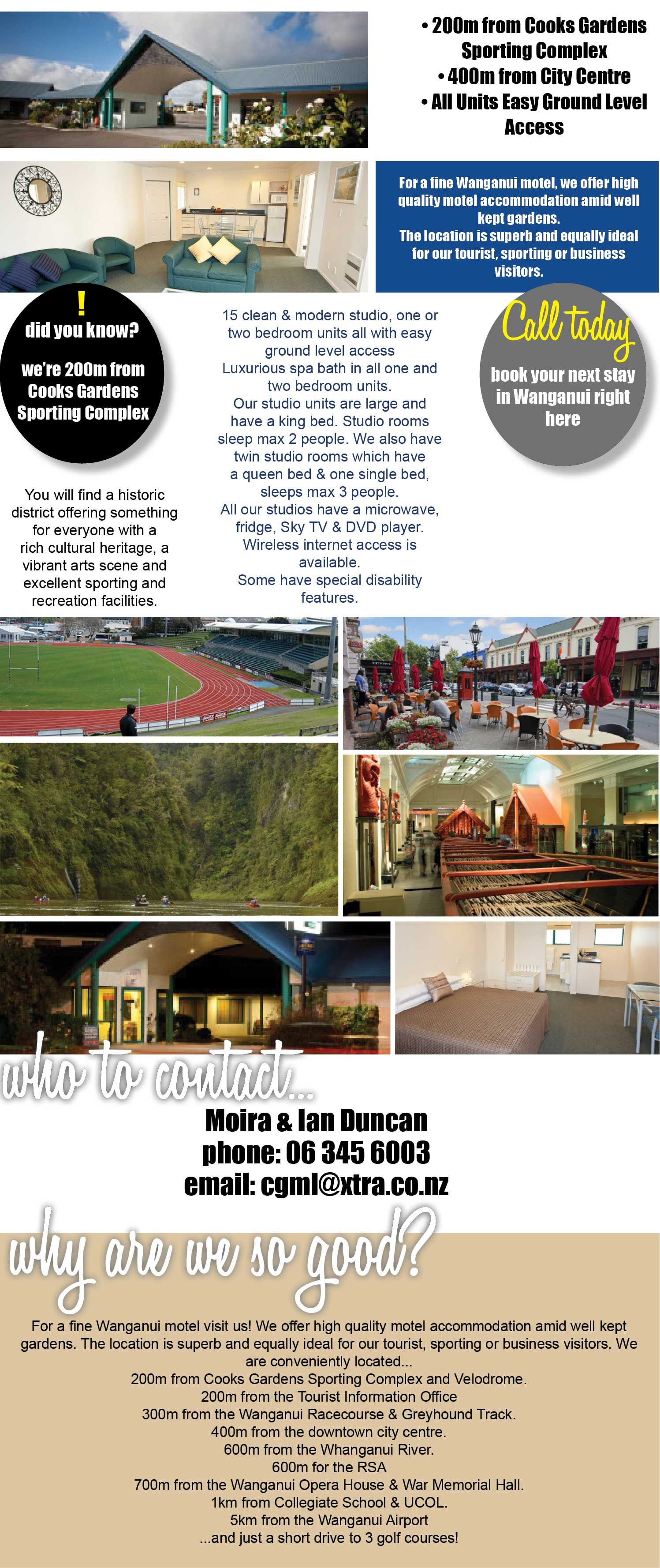 Cooks Gardens Motor Lodge, Wanganui, 200m from sporting complex, 400m from city centre, easy access units, ideal business, sporting or tourists, fine Wanganui motel, spa bath, sky TV. Wanganui accommodation. Accommodation wanganui.