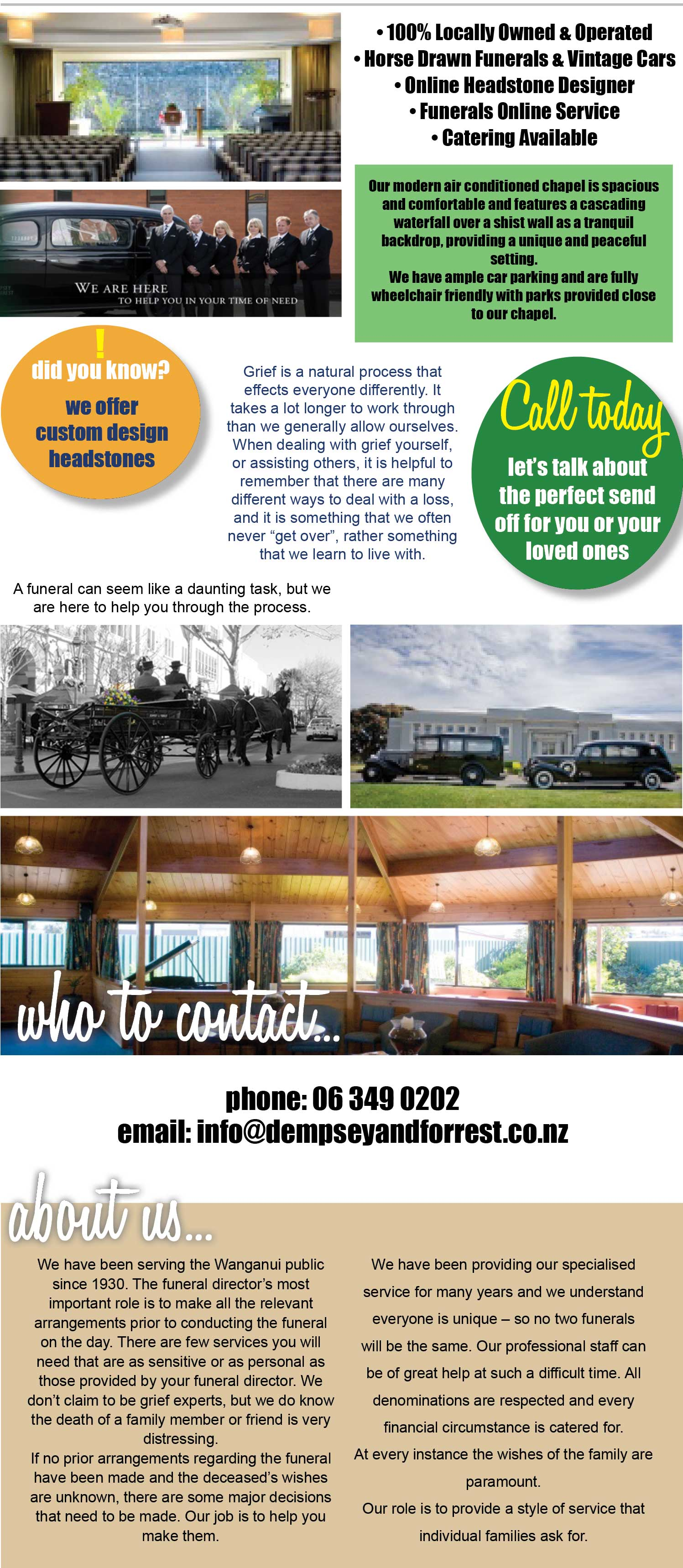 Dempsey & Forrest Funeral Directors, Wanganui, 100% locally owned and operated. Horse drawn & vintage car funerals, online headstone designer, funerals online service, catering available. Funeral Homes. Funeral home. Funeral Home Wanganui. Wanganui Funeral Homes