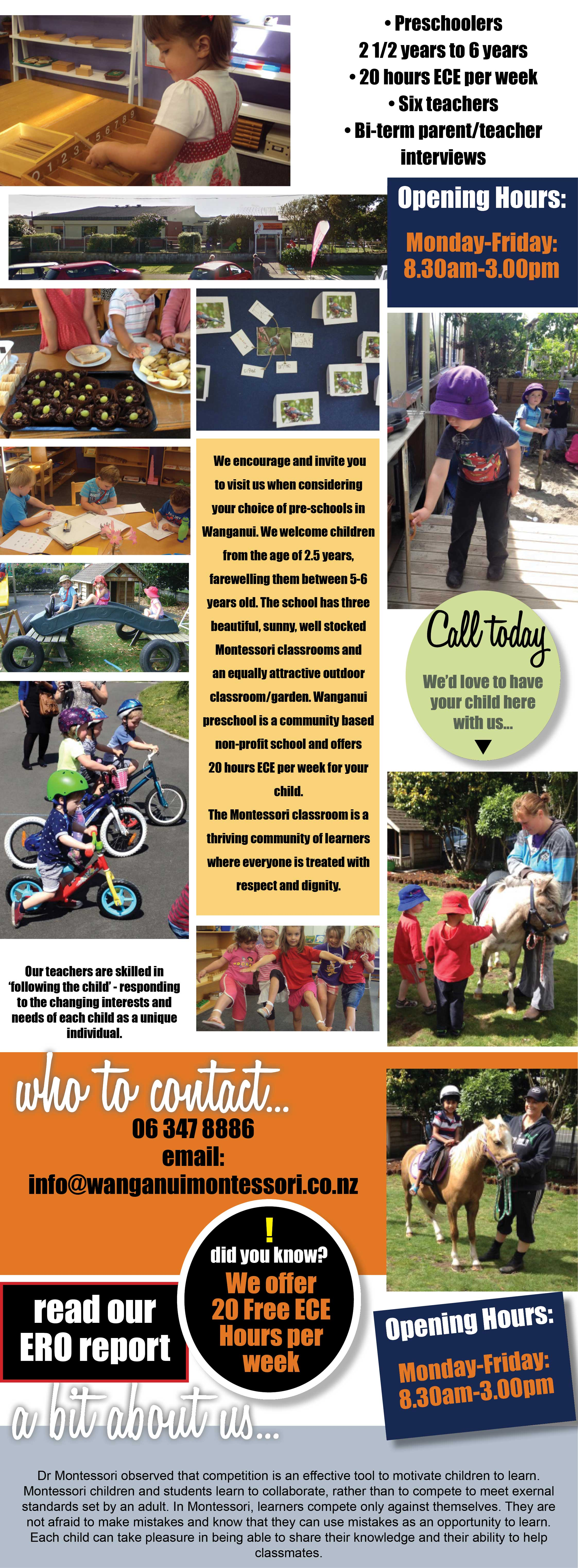 Welcome to Wanganui Montessori Pre-school