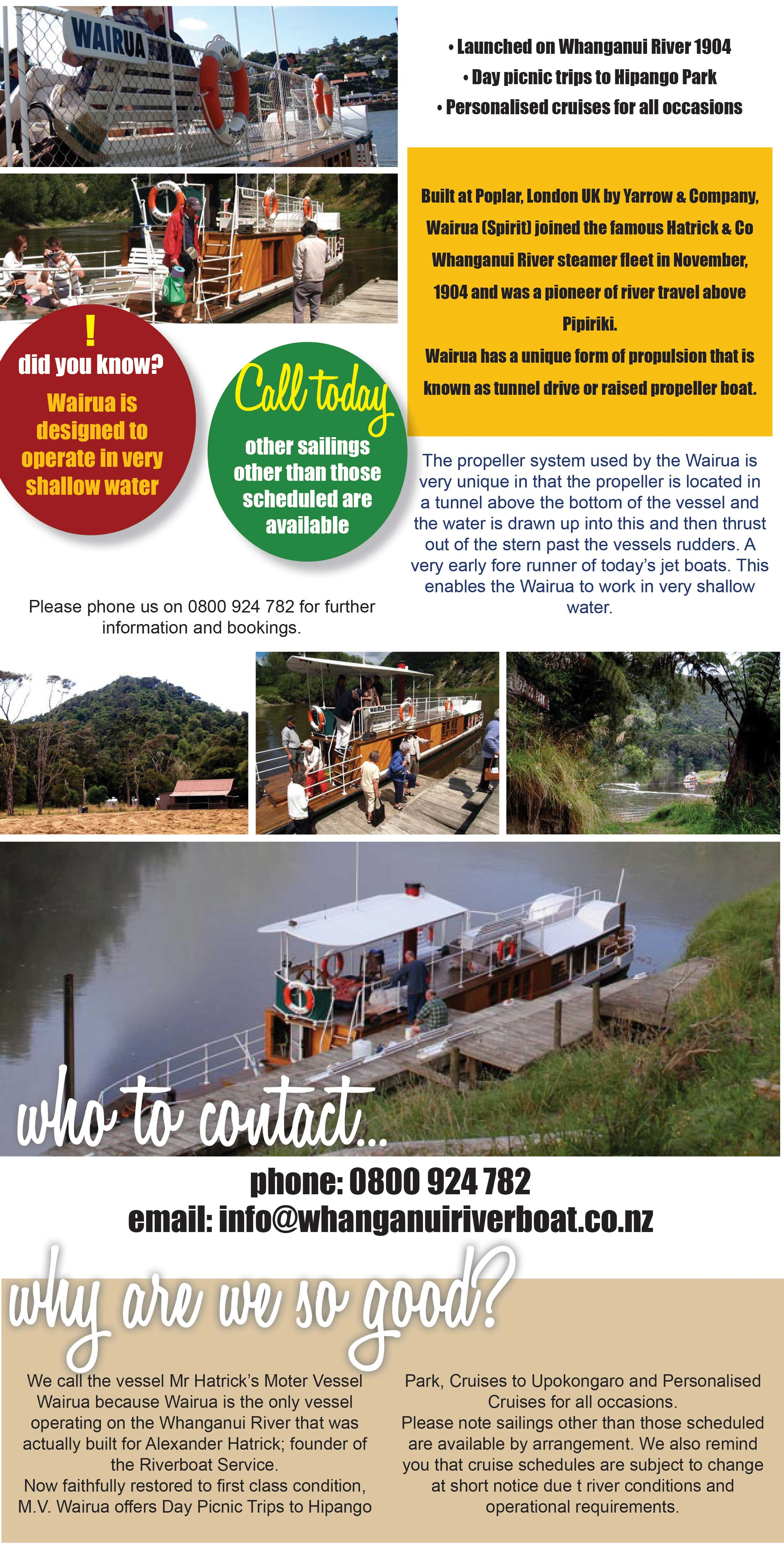 Wanganui Riverboat, Wairua (Spirit), Hatrick & Co Whanganui River Steamer, picnic trips to Hipango park, personalised cruises for all occasions, Upokongaro. Wairua Wanganui. River trips. River trips Wanganui.