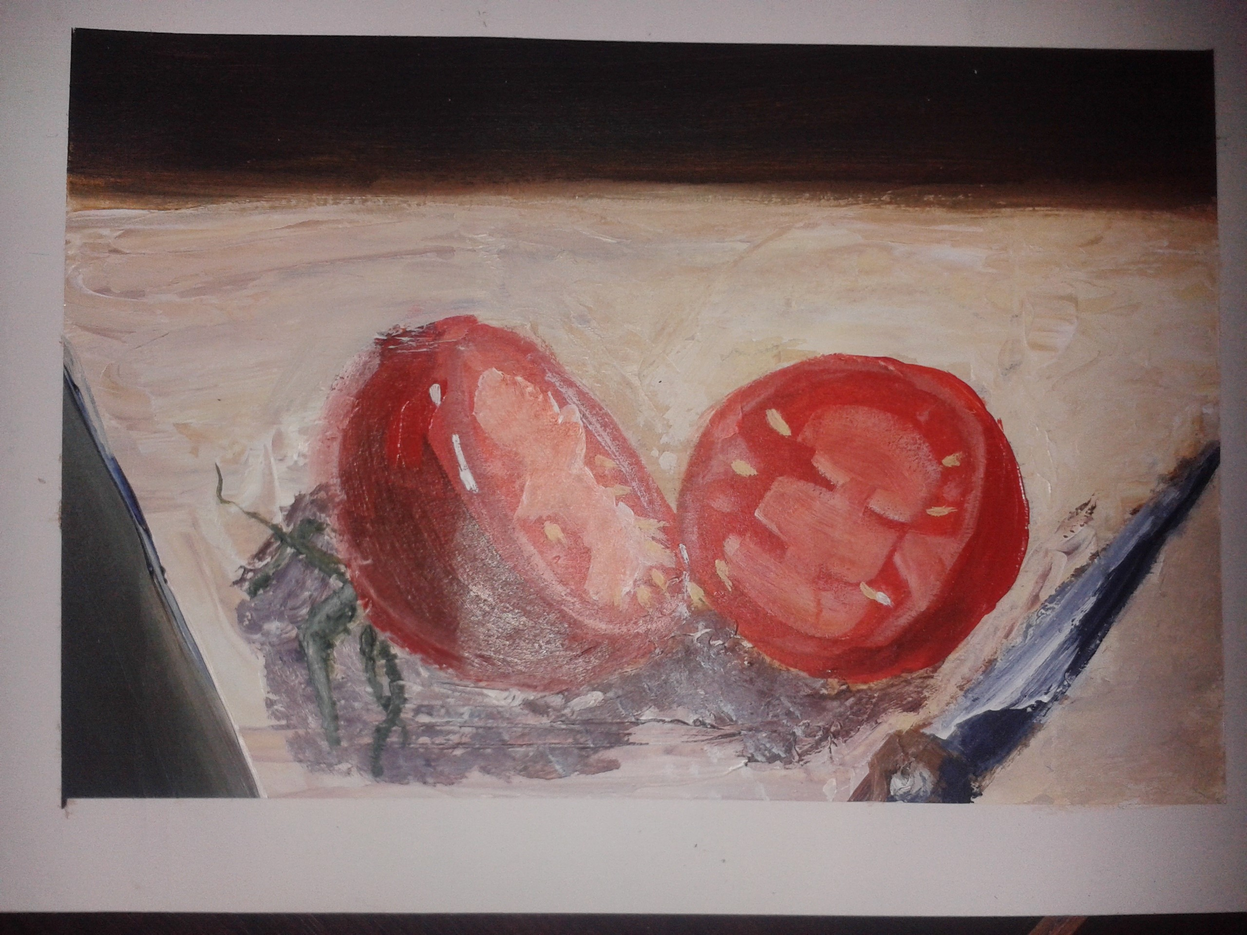 tomatoes still life - acrylic on paper