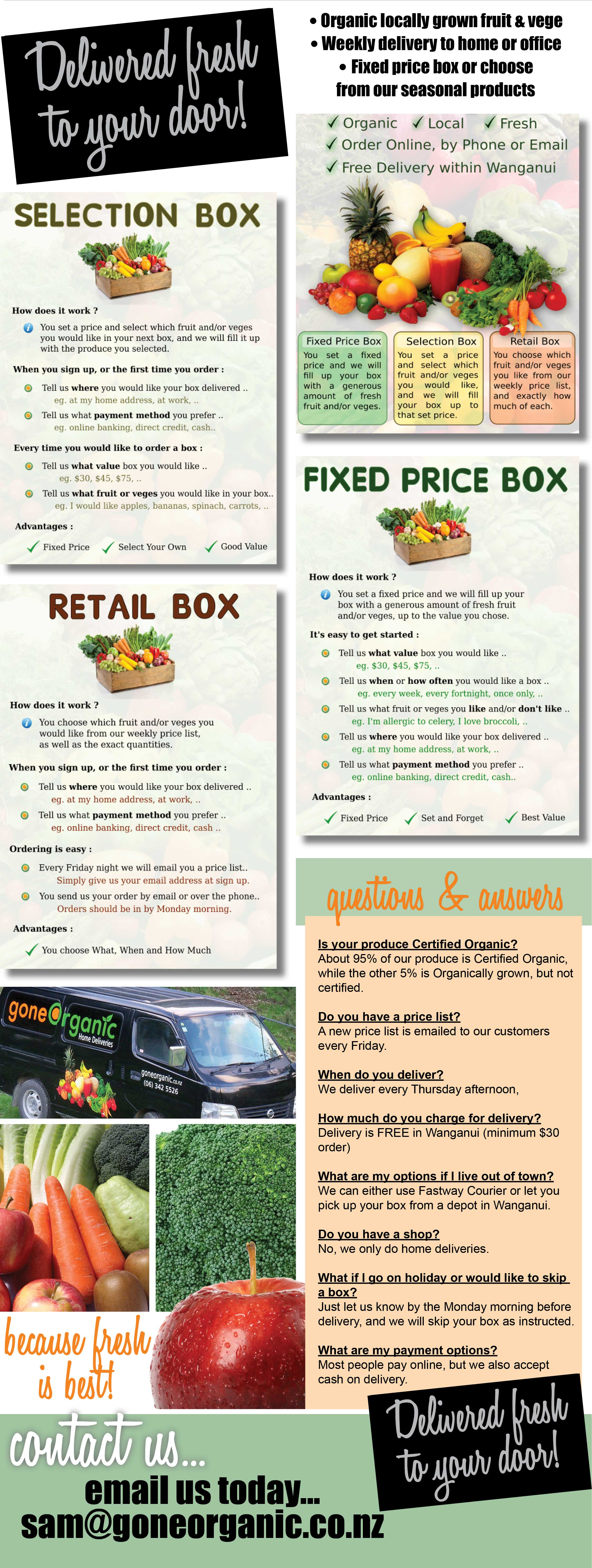 Gone Organic Wanganui. Organic fruit & vege Wanganui, weekly delivery to your home or office, fixed box price or choose from our seasonal products.