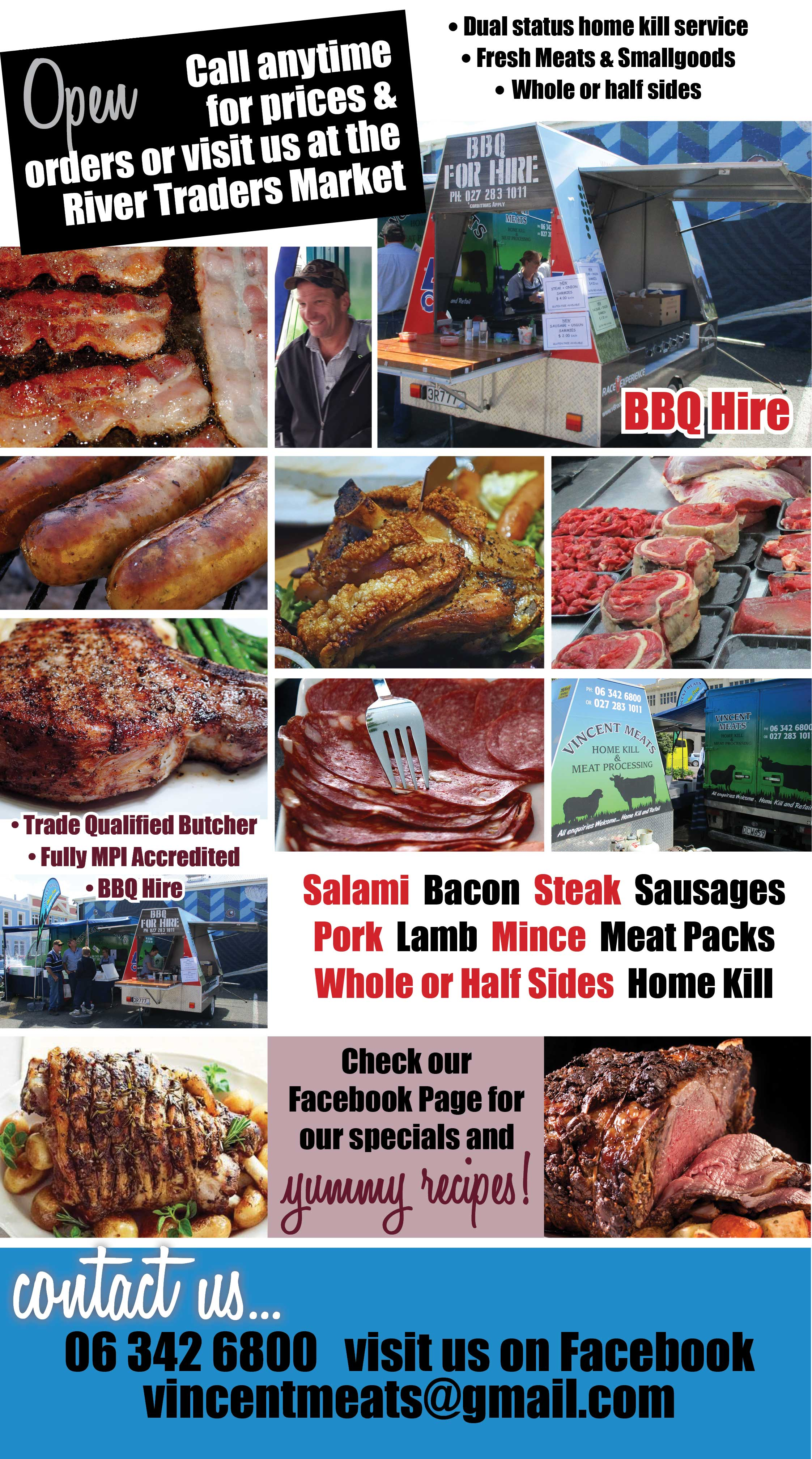 Vincent Meats Home Kill, Dual status home kill service, fresh meats and smallgoods, whole or half sides, BBQ hire, slalmi, bacon, steak, sausages, pork, lamb, mince, meat packs. Home killing Wanganui, home kill service, wanganui home kill, home kill wanganui.