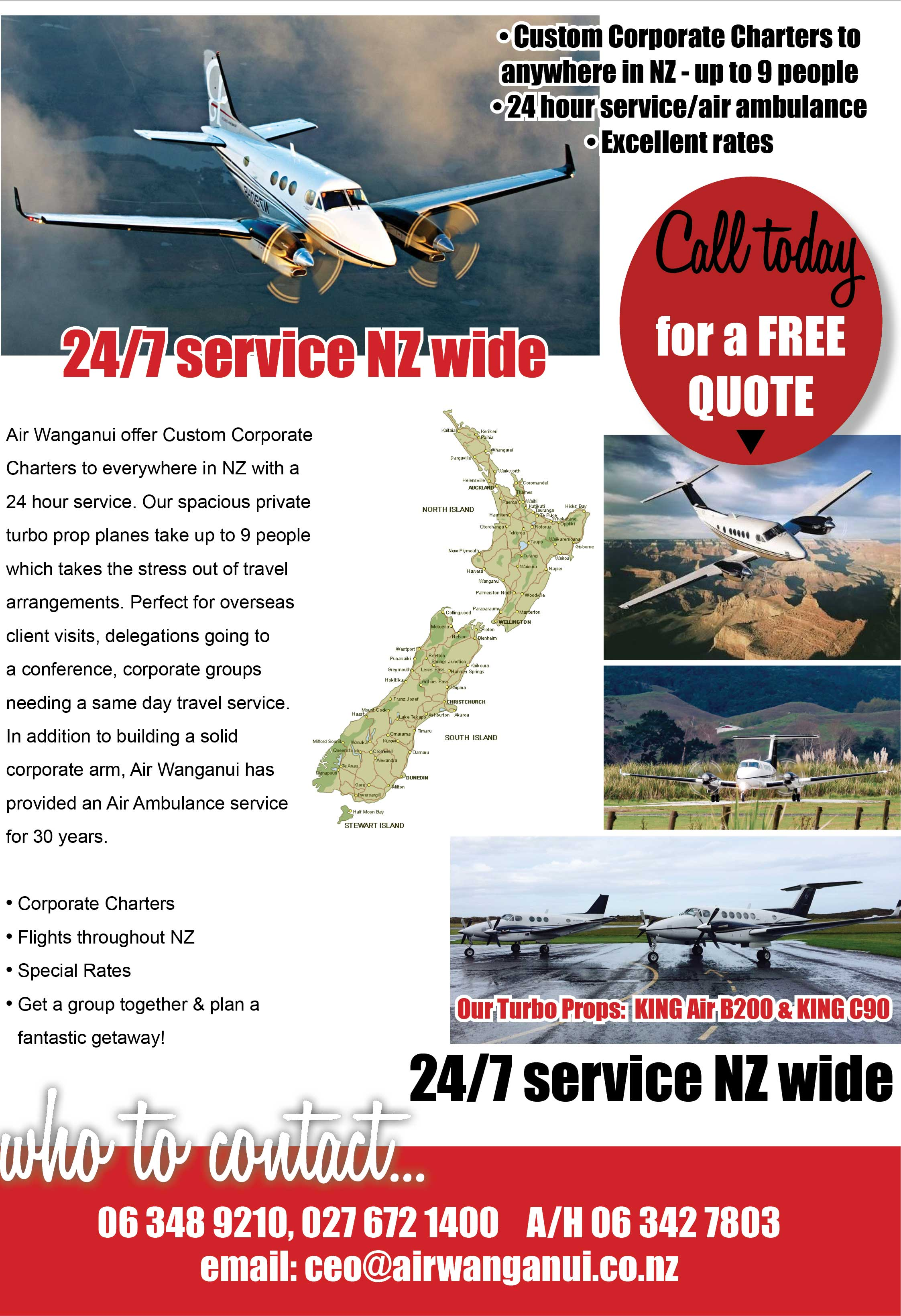 Air Wanganui. Wanganui charter planes. Custom Corporate Charters to anywhere in NZ - up to 9 people. 24 hour service/air ambulance. Excellent rates.