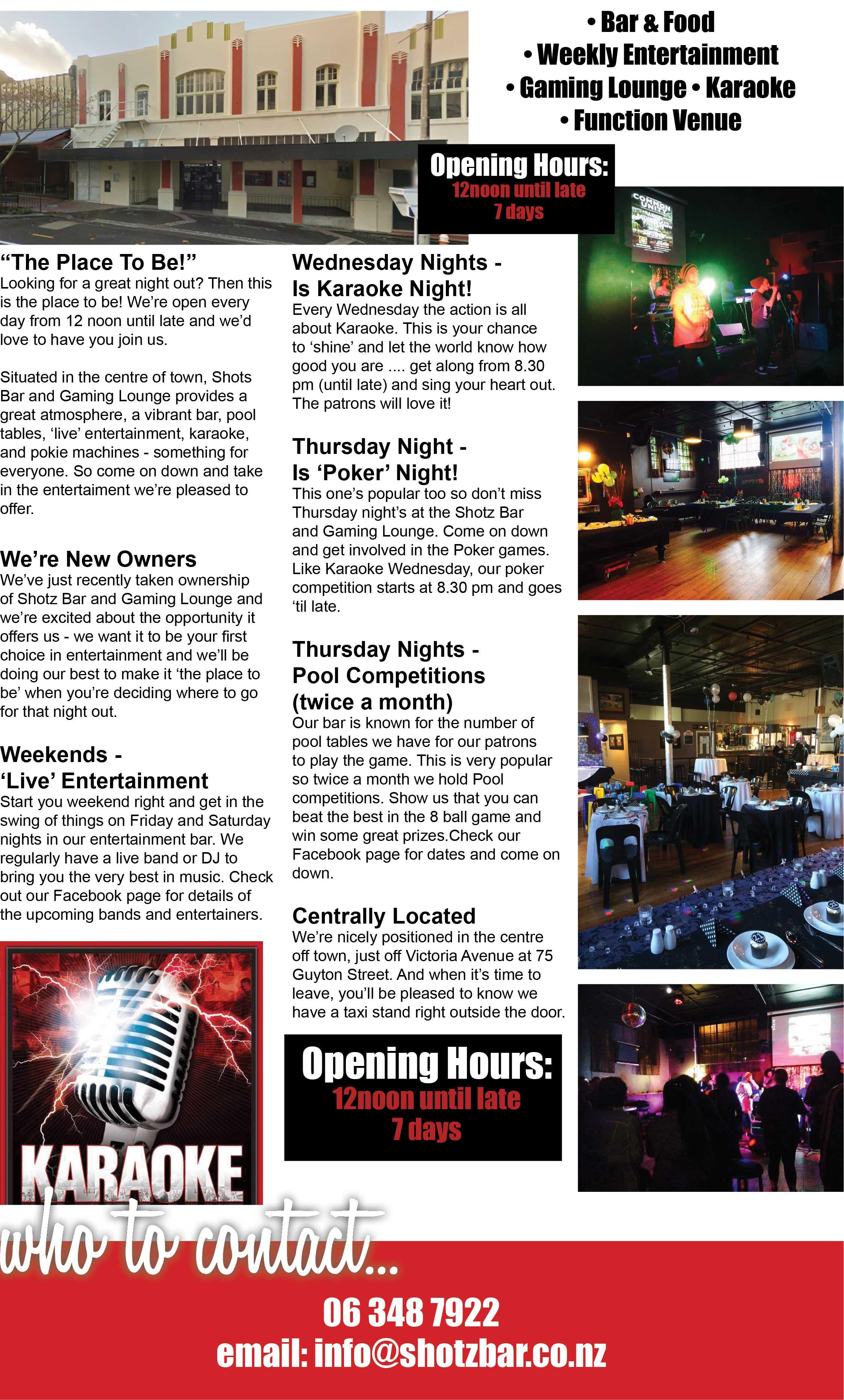 Welcome to 'Shotz Bar & Gaming Lounge'