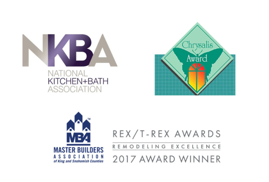 award logos for REX, NKBA, and Chrysalis