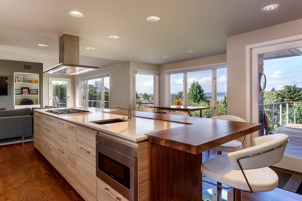beautiful remodeled kitchen with a view