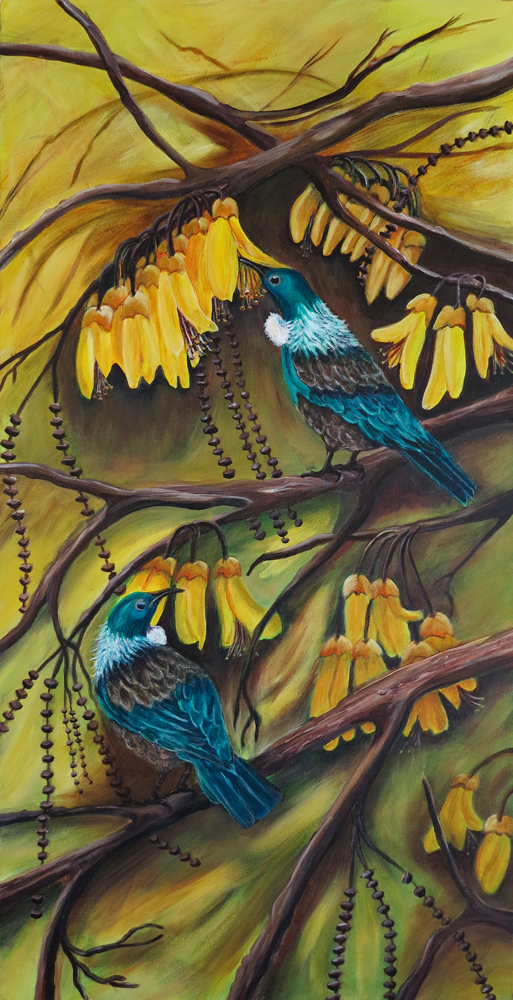 Tuis in Kowhai by Val Jones
