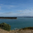 A panoramic view of Matakana Island from the Bowentown lookout