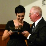 Professor Paul Farrington presents the first Bryan Wyness Memorial to Bianca Andrew