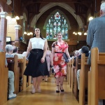 Isabella Moore & Katherine Macindoe lead the staff & students from the chapel at the end of the service