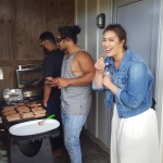 Students enjoy a BBQ in castlecliffe each year. Their one time off! - Manase Latu and Samson Setu cook: Isabella Moore checks
