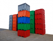 Industrial stackable box pallet bins, Plast-ax