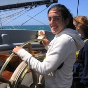 Oldest sister, Sophia (now 24), captaining the ship on her Spirit of Adventure.