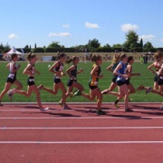 Rebecca Baker during her 1500 mtr race at the NZSS Athletic Champs.
