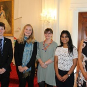 GOLD Duke of Edinburgh Hillary Award recipients (from left) Cameron Allerdice, Jackie Hazelhurst, Grace Selby, Methmi Perera & Kara Jurgens at Government House, 17/2/18.