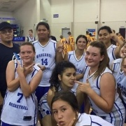 Whanganui U17 girls 4th place Mel Young Classic basketball tourn Tauranga, March 2016. WHS students: back left; Montel Vaiao Aki (No 14), player crouching middle, Maia Ramis, right of her; Rachel Cranch & Dharma Jurgens (dark top), & front; Maarie Mareikura-Ellery.