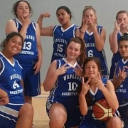 Whanganui U17 girls winning at Paraparaumu. 5 are students from WHS: front row L>R; Montel Vaiao Aki, Rachel Cranch, Maarie Mareikura-Ellery & Maia Ramis & back row, 3rd from left, Dharma Jurgens - March 2016.