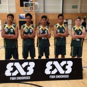 Boys 3x3 Basketball team at ASB Arena,Tauranga for the SS 3x3 National Slam, 30 March - 1 April 2017.