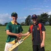 WHS skipper Quinn Mailman receives the Ross Taylor Trophy bat from Hawera High School's Shaun Fowler after WINNING it, Chronicle 4/11/17.