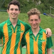 Past & present WHS students Martin Atkinson & Jordan Cohen in their Central Mavericks gear at the 2017 Ford National Hockey League tourn in Wellington, Chron 26/9/17.