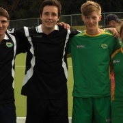 Whanganui hockey stars (from left) Ben Pilet, Reid Atkinson, Lee Moir, Emma Rainey have made the Central U21 rep teams to compete at the Nat Regional Tourn in Dunedin in May. All 4 are ex/current students, March 2016.