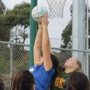 Wanganui U17 GS Taliah Su'a is strong to the ball against Hutt Valley at the Steffersen Netball Tourn in Palmerston Nth, Chron 18/6/15.