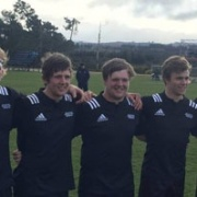 Chris Breuer (ex WHS); Hamish Bennett, Dylan Gallien, Harry Symes, & captain Dylan Bowater (ex WHS) after the NZ Heartland XV defeated Auckland Dev at the Jock Hobbs Memorial U19 tourn, Chron 12/9/17.