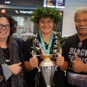 Sandra & Eddie Tofa are massively proud to welcome Women's World Rugby Cup WINNING daughter Sosoli Talawandua (ex WHS student) home from Belfast, Chron 30/8/17.